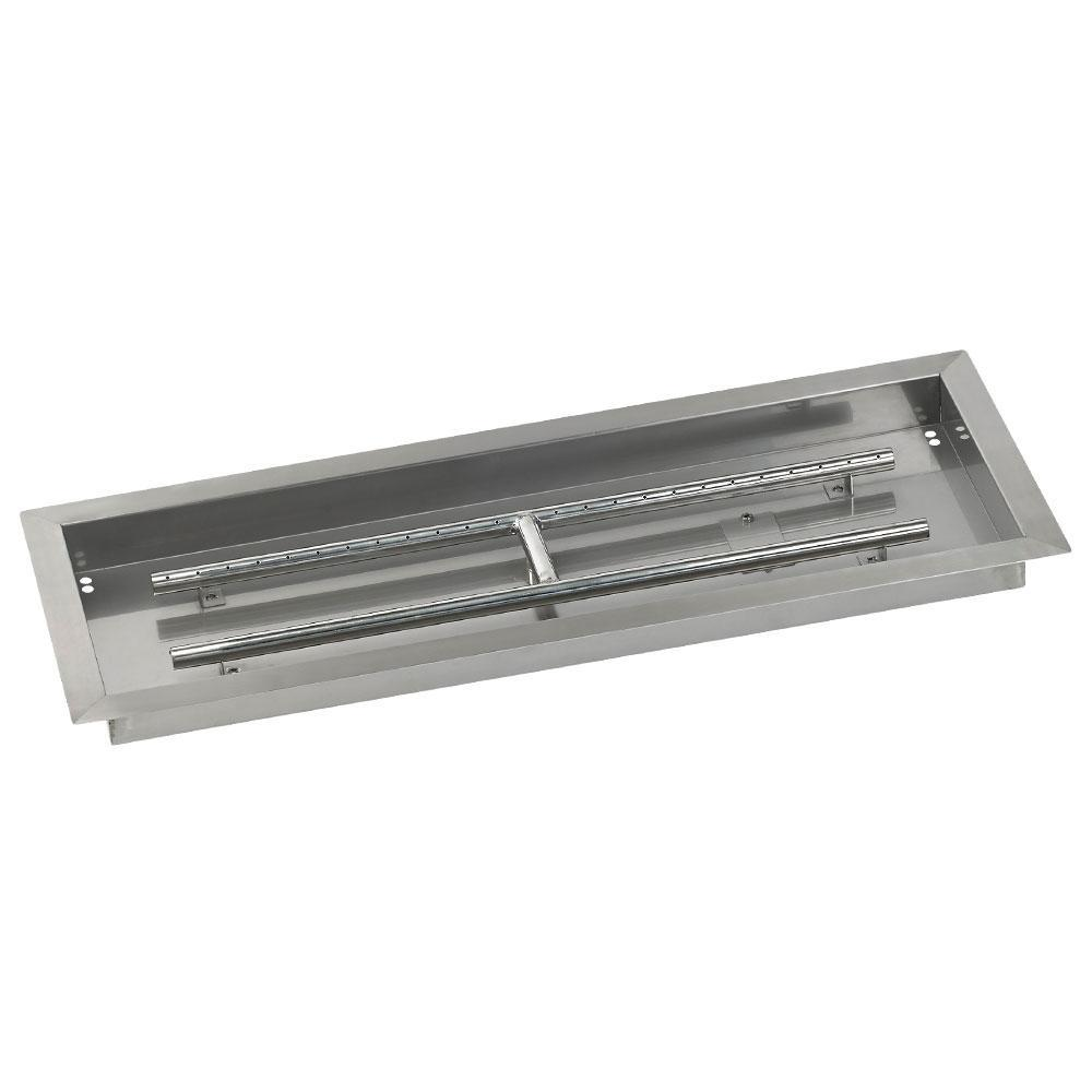 American Fire Glass 30 in. x 10 in. Stainless Steel Rectangular Drop ...