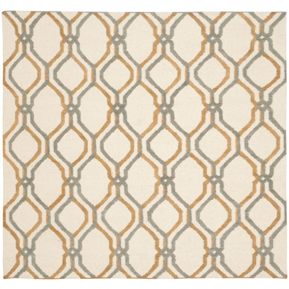 Dhurries Ivory/Blue 6 ft. x 6 ft. Square Area Rug