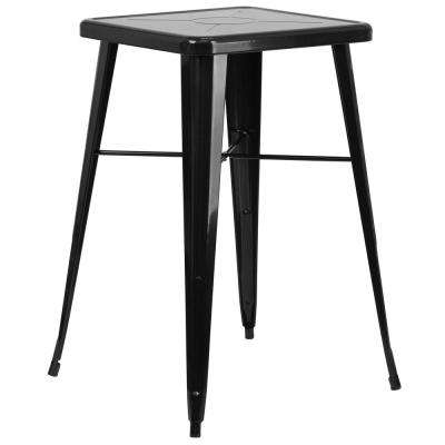 Black Square Metal Outdoor Bistro Table