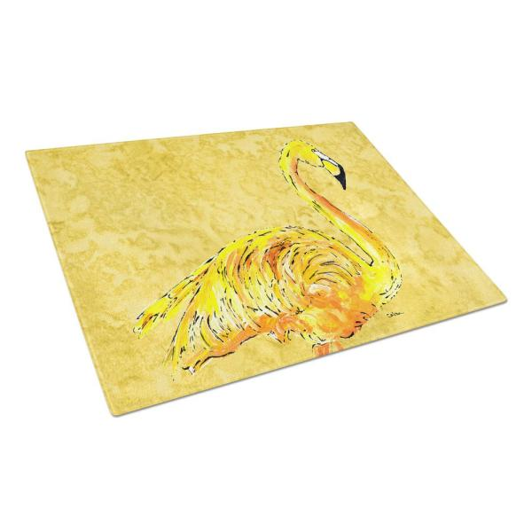 Flamingo on Yellow Tempered Glass Large Cutting Board