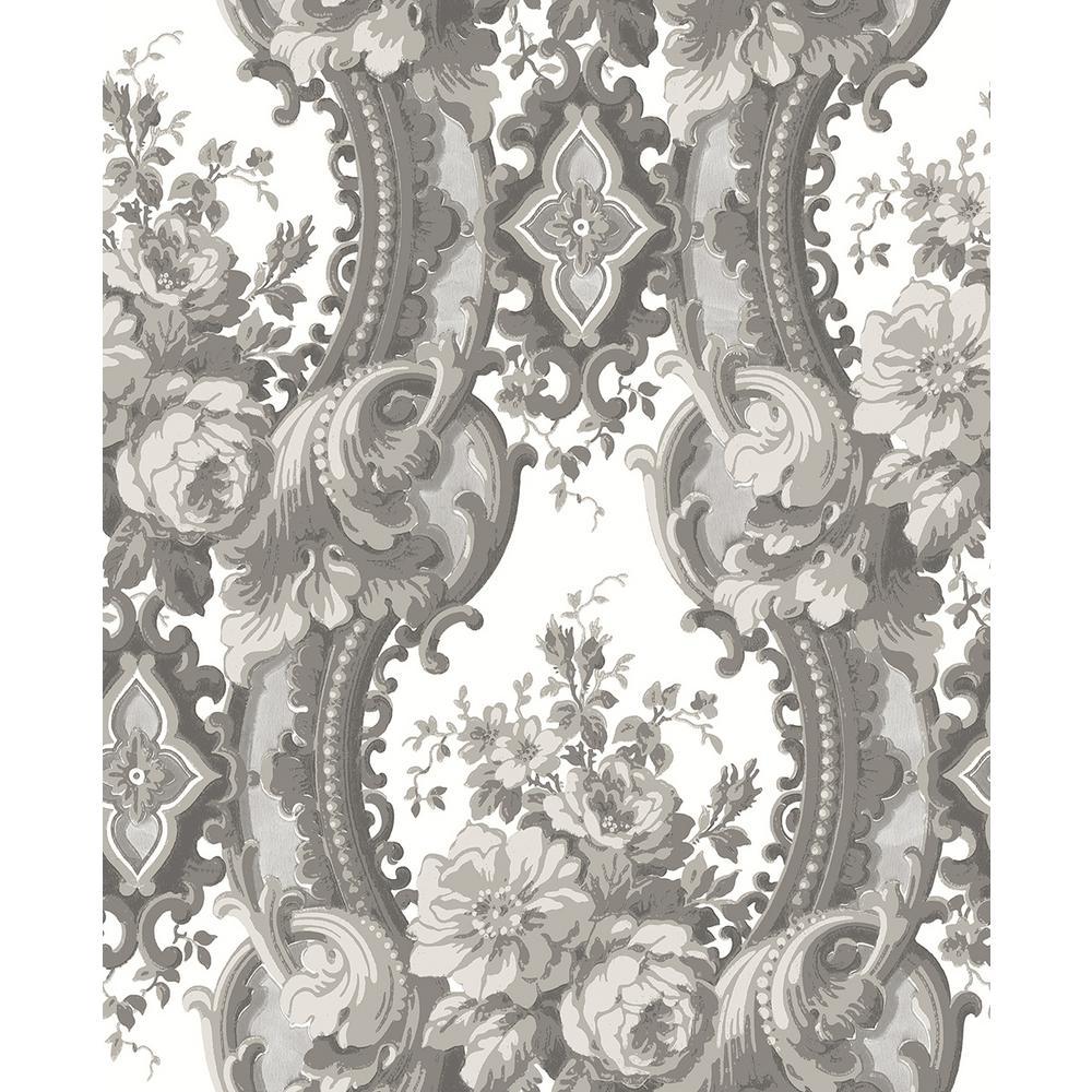 a street winsome grey floral damask wallpaper 2702 22749. Black Bedroom Furniture Sets. Home Design Ideas