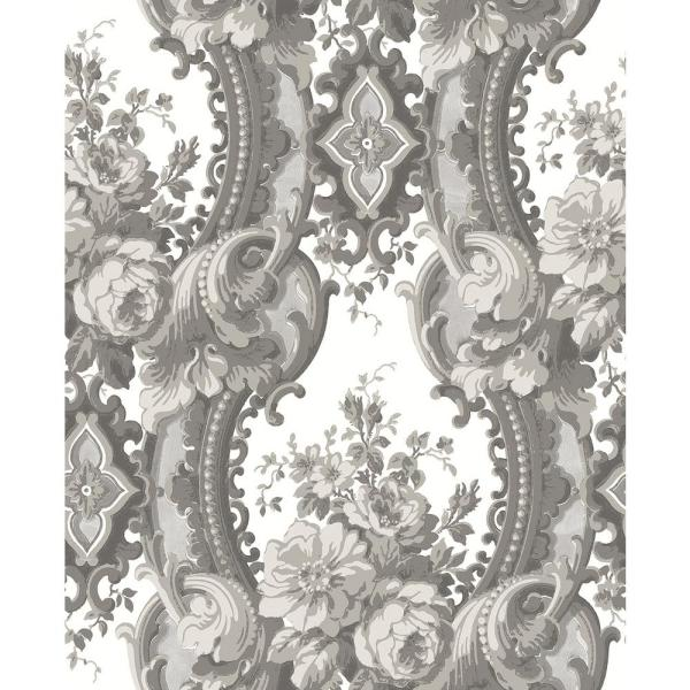 A-Street 8 in. x 10 in. Dreamer Grey Damask Wallpaper Sample