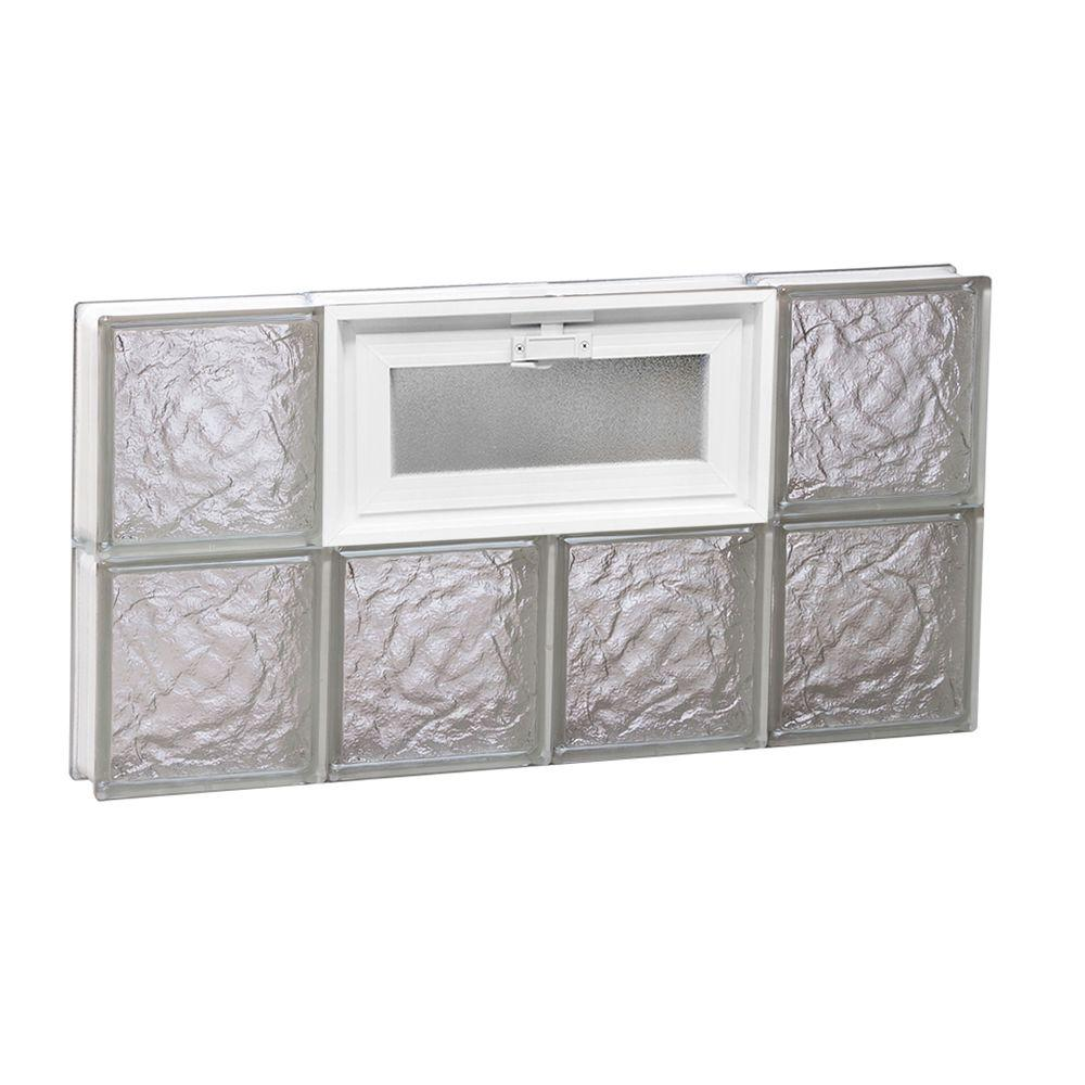 Clearly Secure 31 in. x 15.5 in. x 3.125 in. Frameless Ice Pattern Vented Glass Block Window