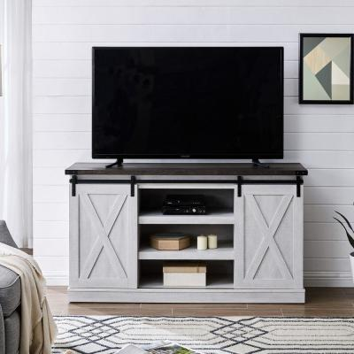 Ogden 54 in. White Rectangle Wash MDF TV Stand 60 in. with Doors