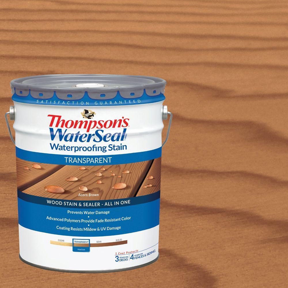 5 gal. Transparent Acorn Brown Waterproofing Stain Exterior Wood