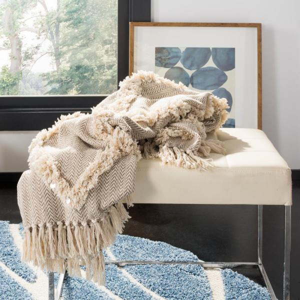 Lachlan Beige Throw Blanket