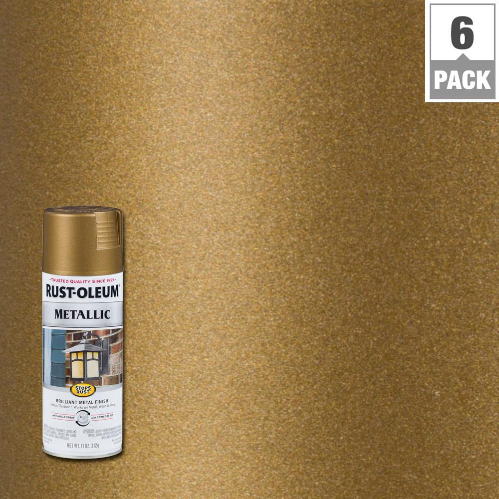 Rust-Oleum Stops Rust 11 oz. Metallic Champagne Bronze Protective Spray Paint (6-Pack)