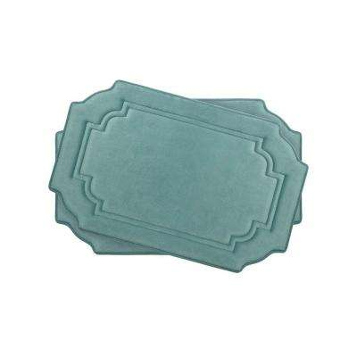 Calypso Marine Blue 17 in. x 24 in. Memory Foam 2-Piece Bath Mat Set