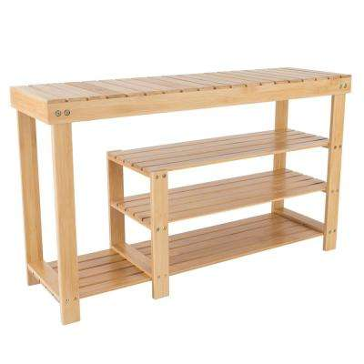 9 Pair Bamboo Bench And Shoe Organizer