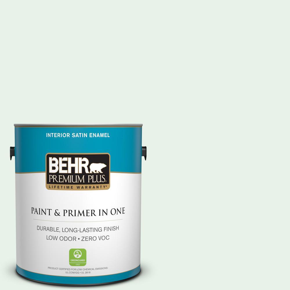 BEHR Premium Plus 1-gal. #450A-1 Crystal Gem Zero VOC Satin Enamel Interior Paint