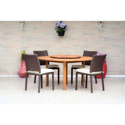 Danvers Lazy Susan 5-Piece Wood Round Outdoor Dining Set with White Cushions