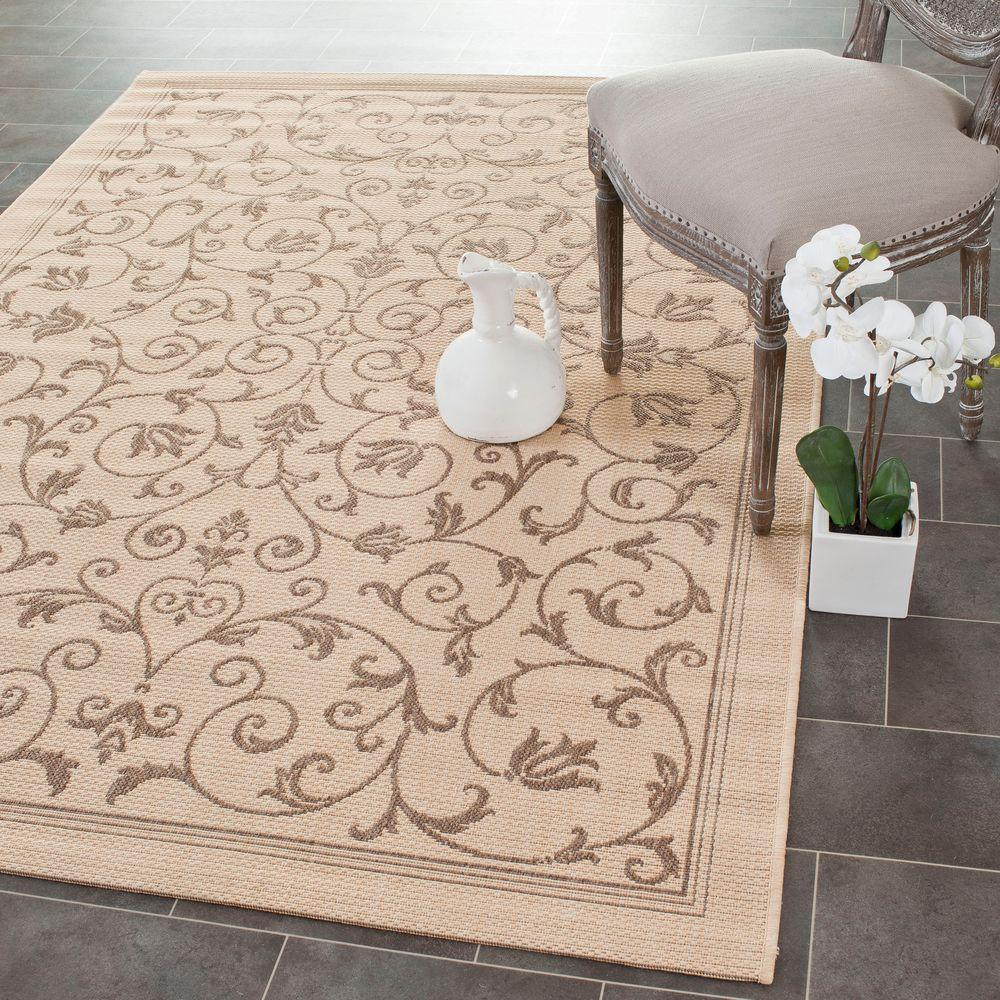 Safavieh Courtyard Natural/Brown 5 ft. 3 in. x 7 ft. 7 in. Indoor/Outdoor Area Rug