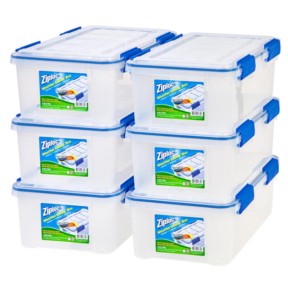 IRIS 16 Qt. Ziploc Weather Shield Storage Box In Clear (Pack Of 6)