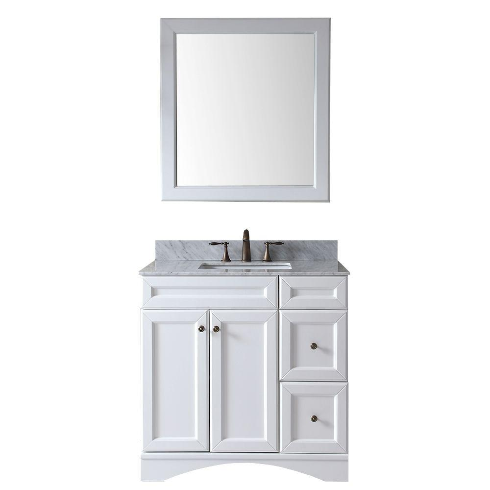 Virtu USA Talisa 36 in. Vanity in Antique White with Marble Vanity Top in Italian Carrara White-DISCONTINUED