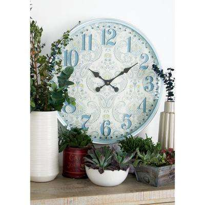 Multi-Colored Traditional Wall Clock with Flourish Accents