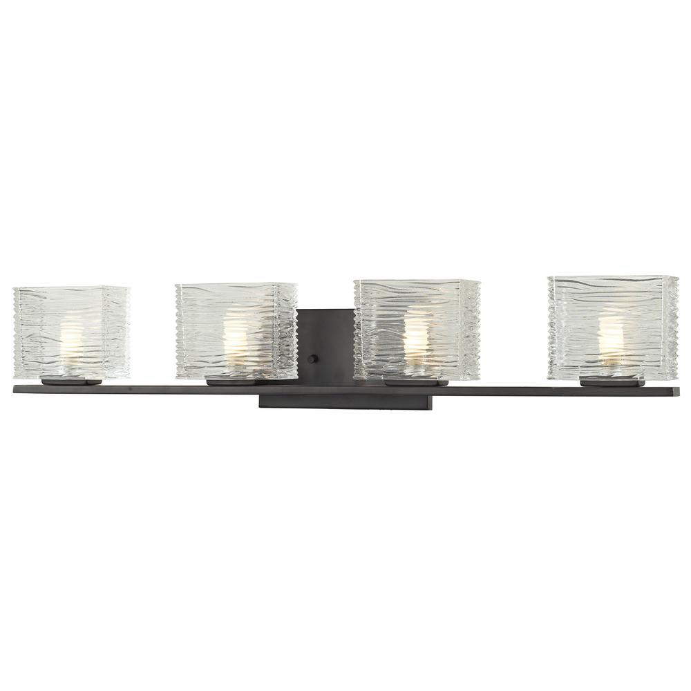 Jael 4-Light Bronze Bath Light with Clear Glass Shade