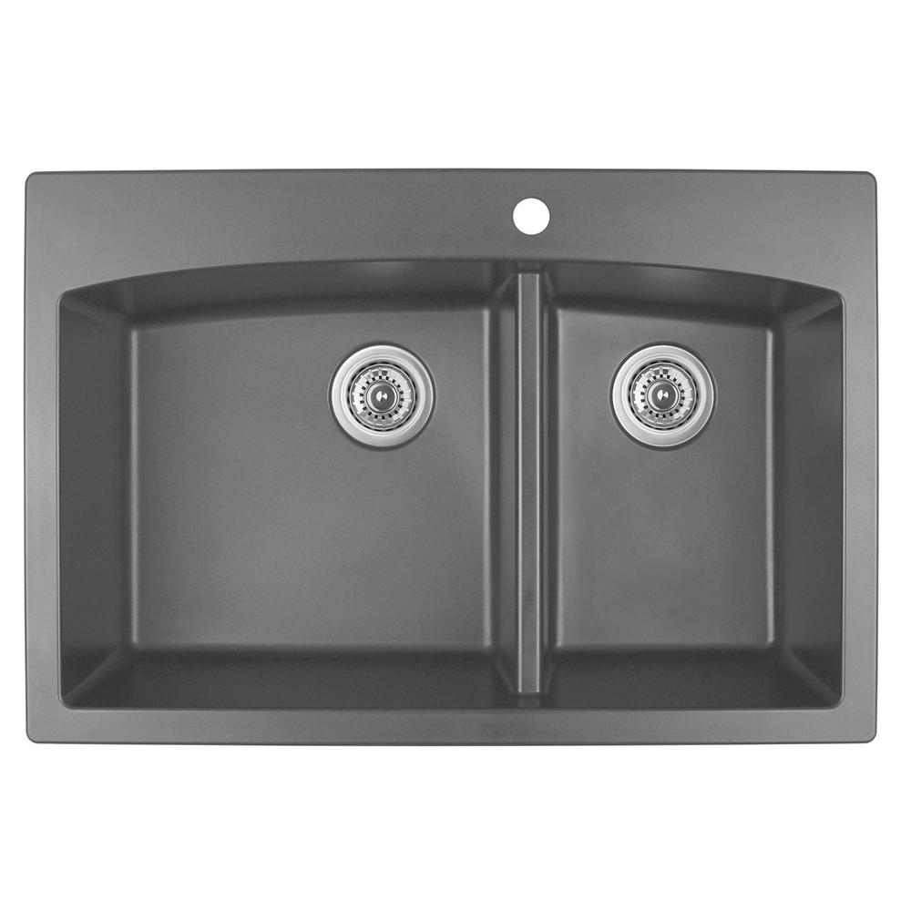 Drop-In Quartz Composite 33 in. 1-Hole 60/40 Double Bowl Kitchen Sink