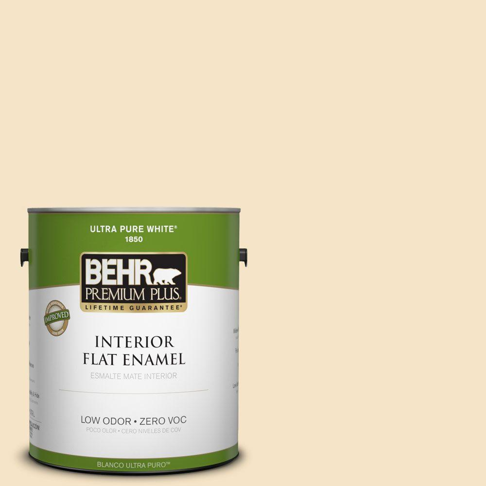 BEHR Premium Plus 1-gal. #330C-2 Lightweight Beige Zero VOC Flat Enamel Interior Paint-DISCONTINUED