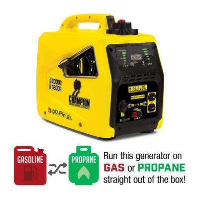 2000-Watt Dual Fuel Powered Stackable Portable Inverter Generator