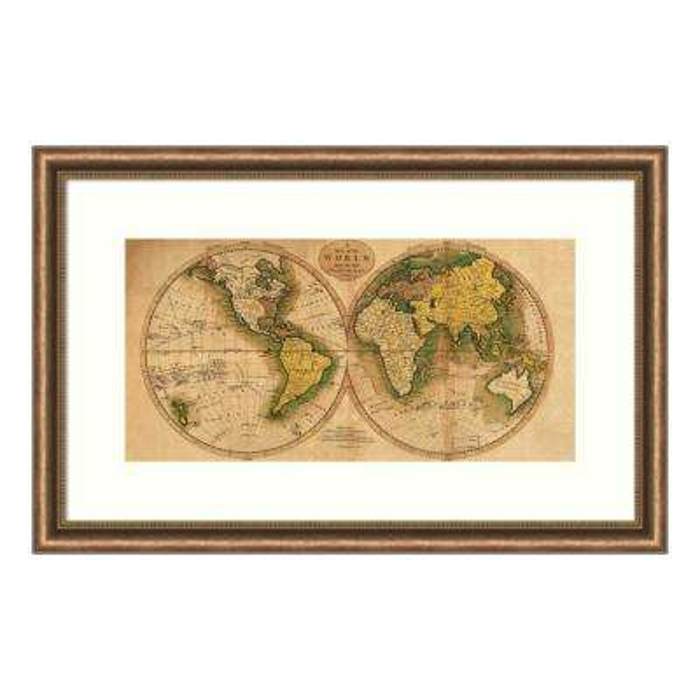 """""""World Map"""" by Matthew Carey Framed Wall Art"""