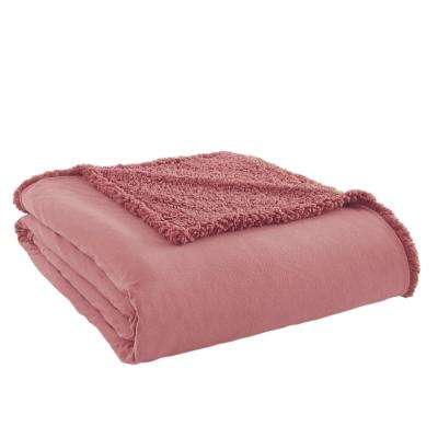 Frosted Rose Sherpa Back Polyester Queen Blanket