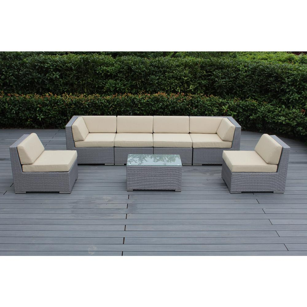 Gray 7-Piece Wicker Patio Seating Set with Sunbrella Antique Beige Cushions