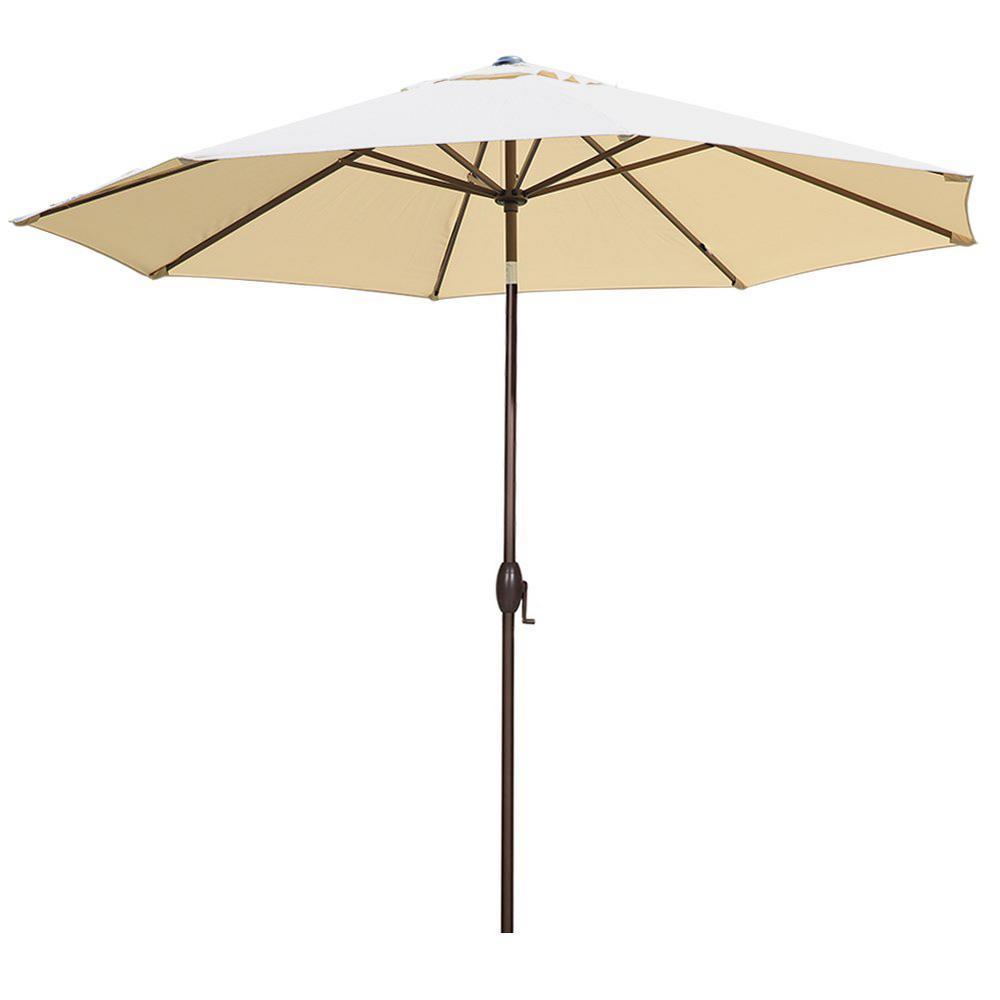 11 ft. Aluminum Market Push Button Tilt and Crank Patio Umbrella in Beige