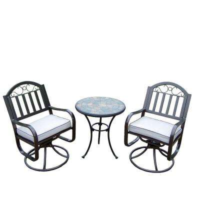 Stone Art Rochester 3-Piece Swivel Patio Bistro Set with Solid Cushions and 24 in. Table