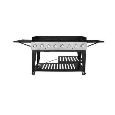 8-Burner Event Propane Gas Grill with 2 Folding Side Tables