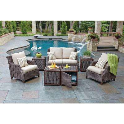 Santa Monica 7 Piece Patio Seating Set With Beige Cushions