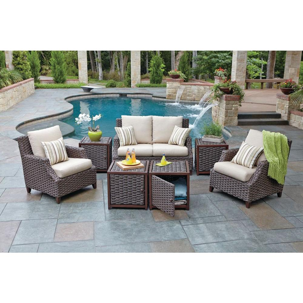 Woodard Worldwide Santa Monica 7 Piece Patio Seating Set With Beige Cushions