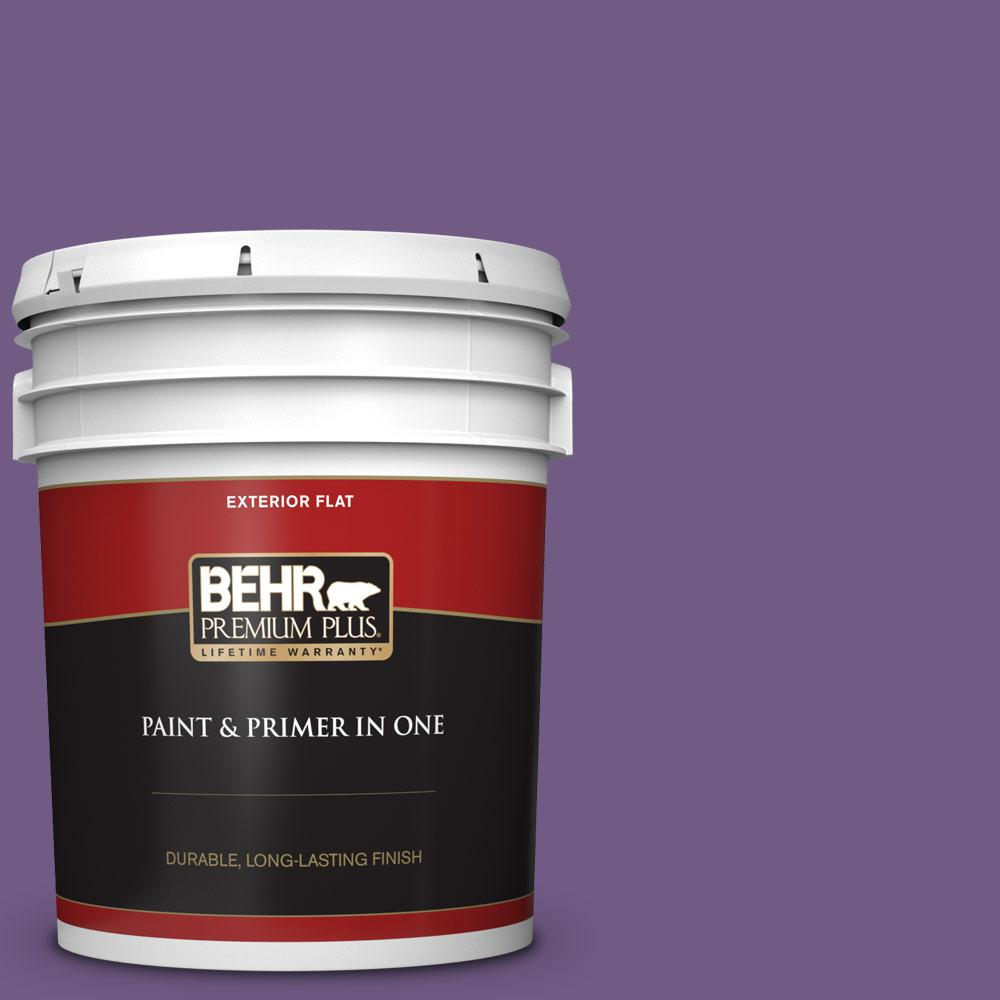 Behr Premium Plus 5 Gal 650b 7 Mystical Purple Flat Exterior Paint And Primer In One 430005 The Home Depot