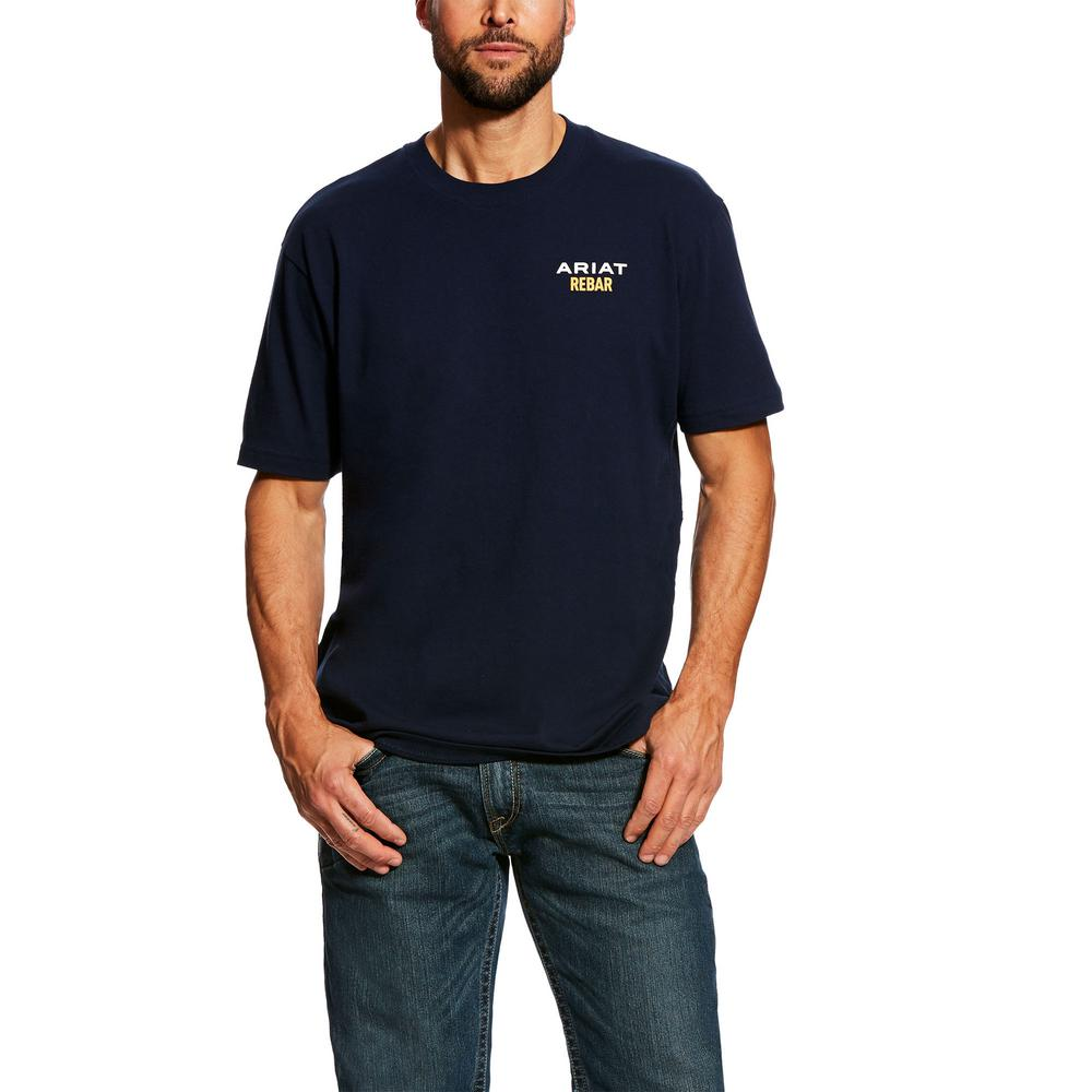 567180e34eac Ariat Men's Size Large Navy Rebar Cottonstrong Logo Short Sleeve Work T- Shirt