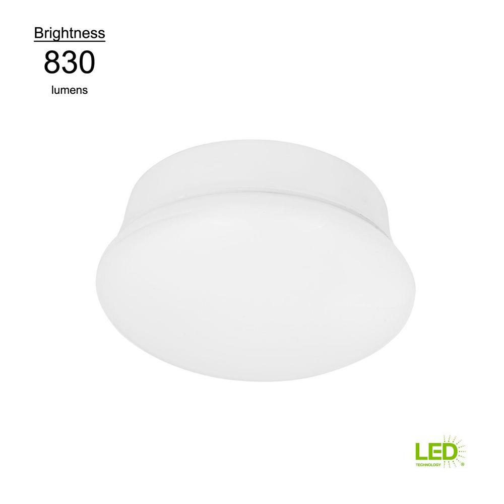 Commercial Electric Lightbulb Replacement Fixture 7 in. Round White 60 Watt Equivalent Integrated LED Flushmount (Bright White)