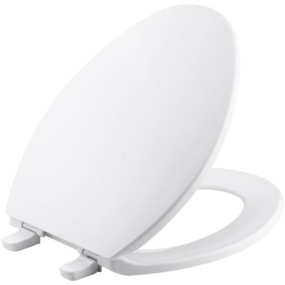 Brevia Elongated Closed Front Toilet Seat with Quick-Release Hinges in White