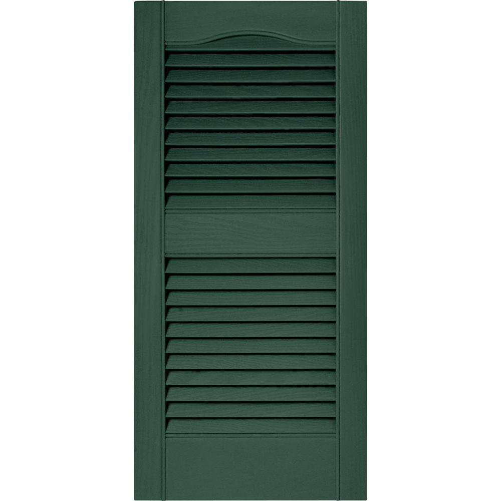 15 in. x 31 in. Louvered Vinyl Exterior Shutters Pair in