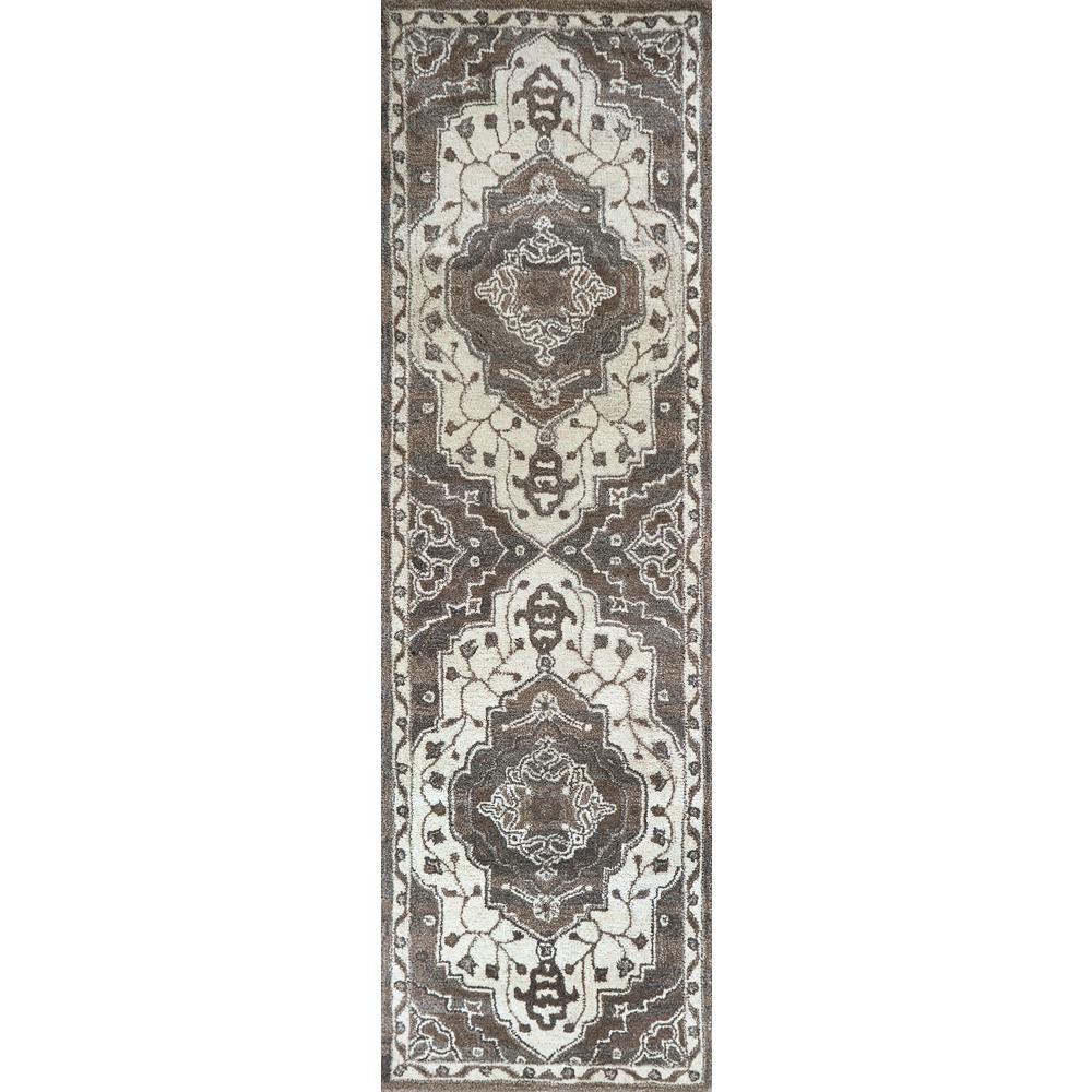 Makalu Ivory/Gray 2 ft. 6 in. x 8 ft. Oriental Runner Rug