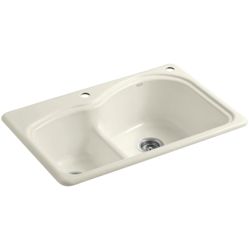 KOHLER Woodfield Smart Divide Drop-In Cast-Iron 33 in. 2-Hole Double Bowl Kitchen Sink in Biscuit
