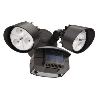 Twin Head Bronze Motion-Sensing Outdoor LED Flood Light