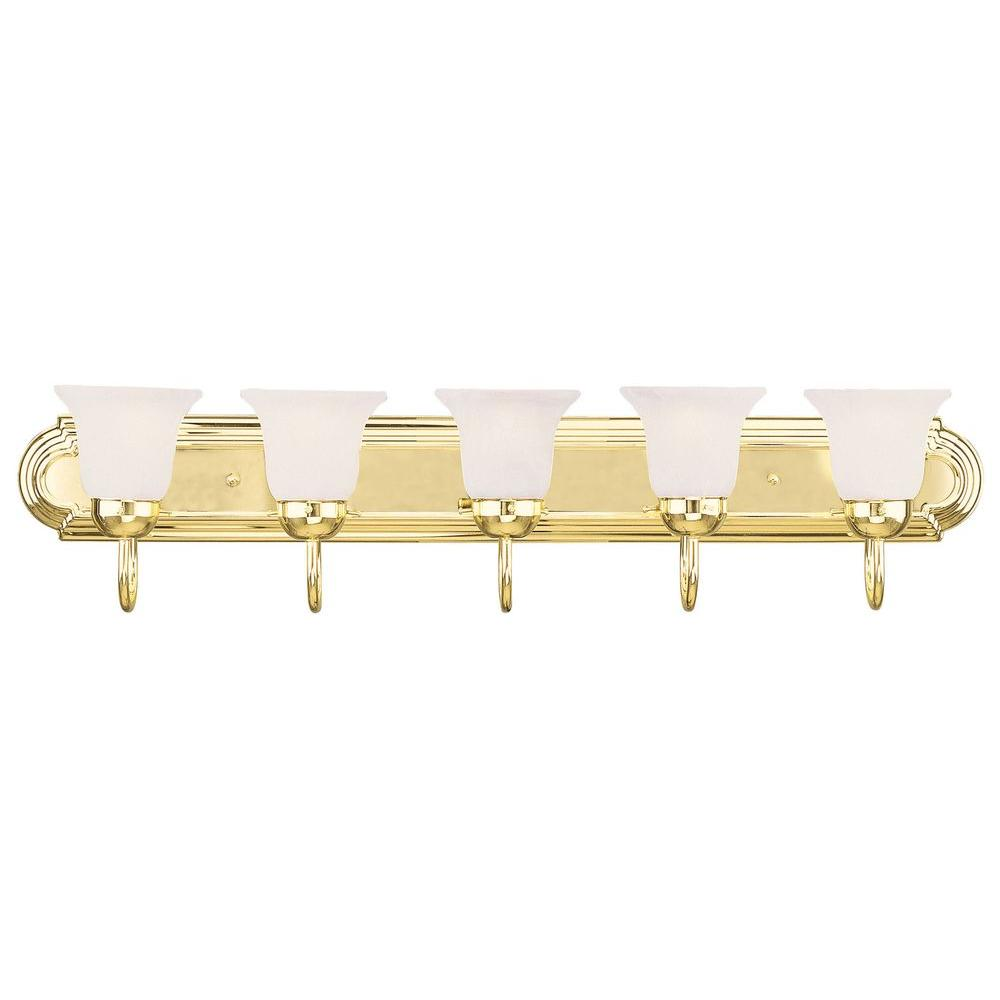 Livex Lighting 5 Light Polished Brass Bath Light With White Alabaster Glass Shade 1075 02 The