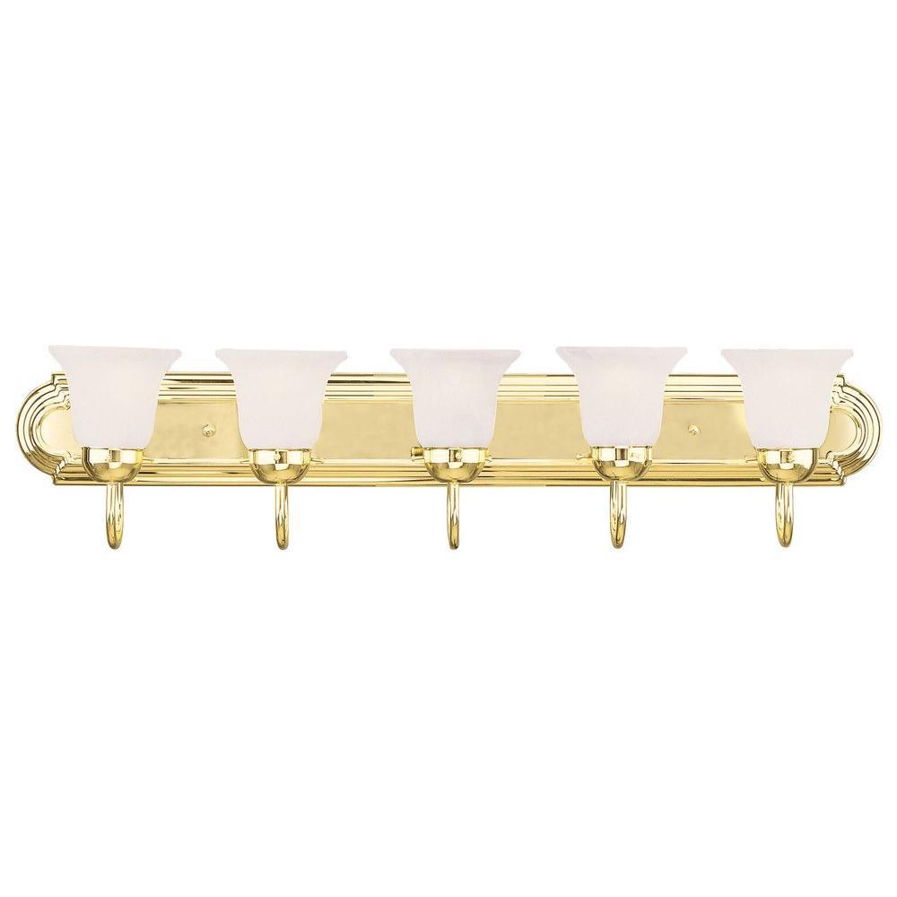 5-Light Polished Brass Bath Light with White Alabaster Glass Shade