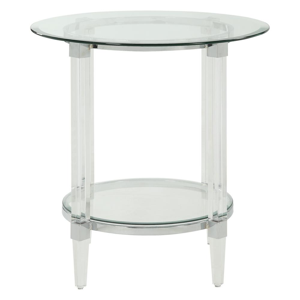 Acme furniture polyanthus clear acrylic chrome and clear glass end table 80947 the home depot