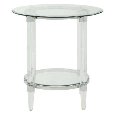 Polyanthus Clear Acrylic, Chrome and Clear Glass End Table