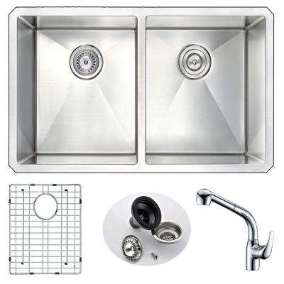 VANGUARD Undermount Stainless Steel 32 in. Double Bowl Kitchen Sink and Faucet Set with Harbour Faucet in Chrome