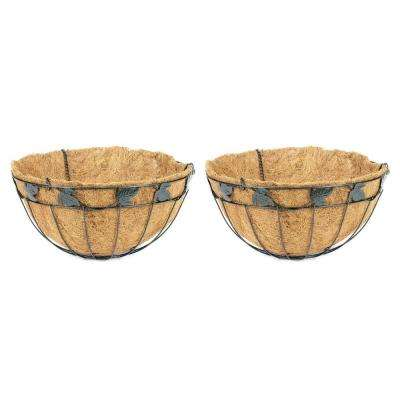 16 in. Coconest/Steel Leaf Design Hanging Basket (2-Pack)