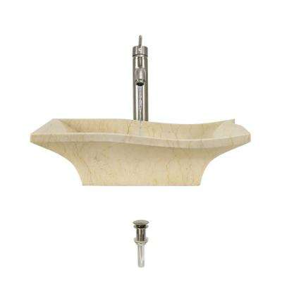 Stone Vessel Sink in Egyptian Yellow Marble with 718 Faucet and Pop-Up Drain in Brushed Nickel