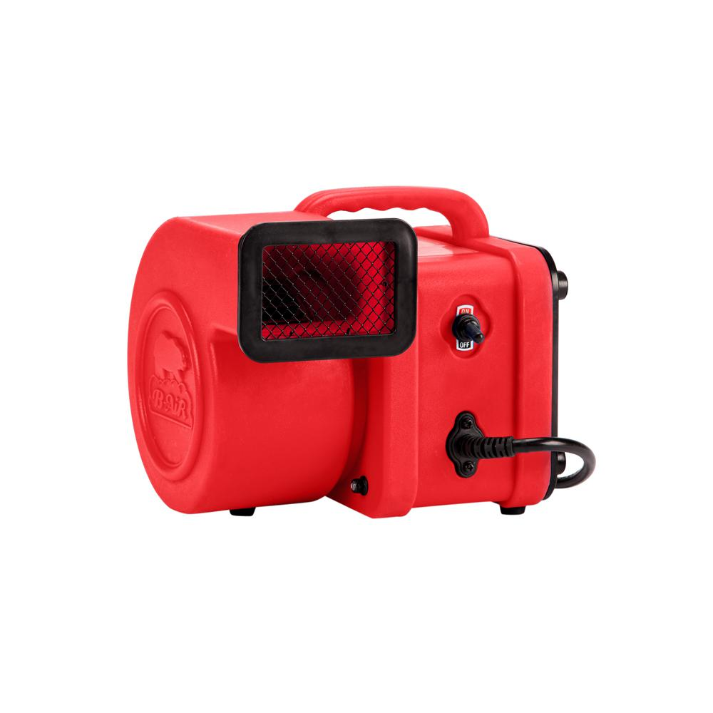 B-Air 1/4 HP Mini Air Mover for Water Damage Restoration Carpet Dryer Floor Blower Fan, Red