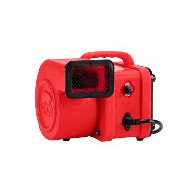 1/4 HP Mini Air Mover for Water Damage Restoration Carpet Dryer Floor Blower Fan in Red