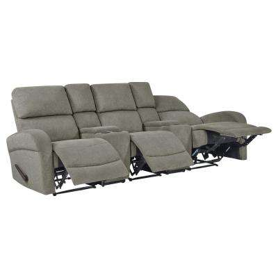Warm Gray Chenille Recliner Sofa with Storage Console and USB Ports (3-Seat)