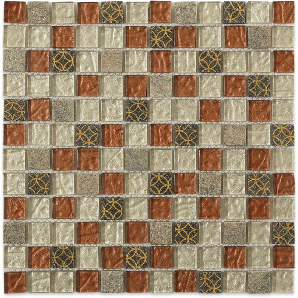 Splashback Tile Carved Redwood Blend 1 in. x 1 in. Marble and Glass Tile Mosaic Tiles - 6 in. x 6 in. Tile Sample